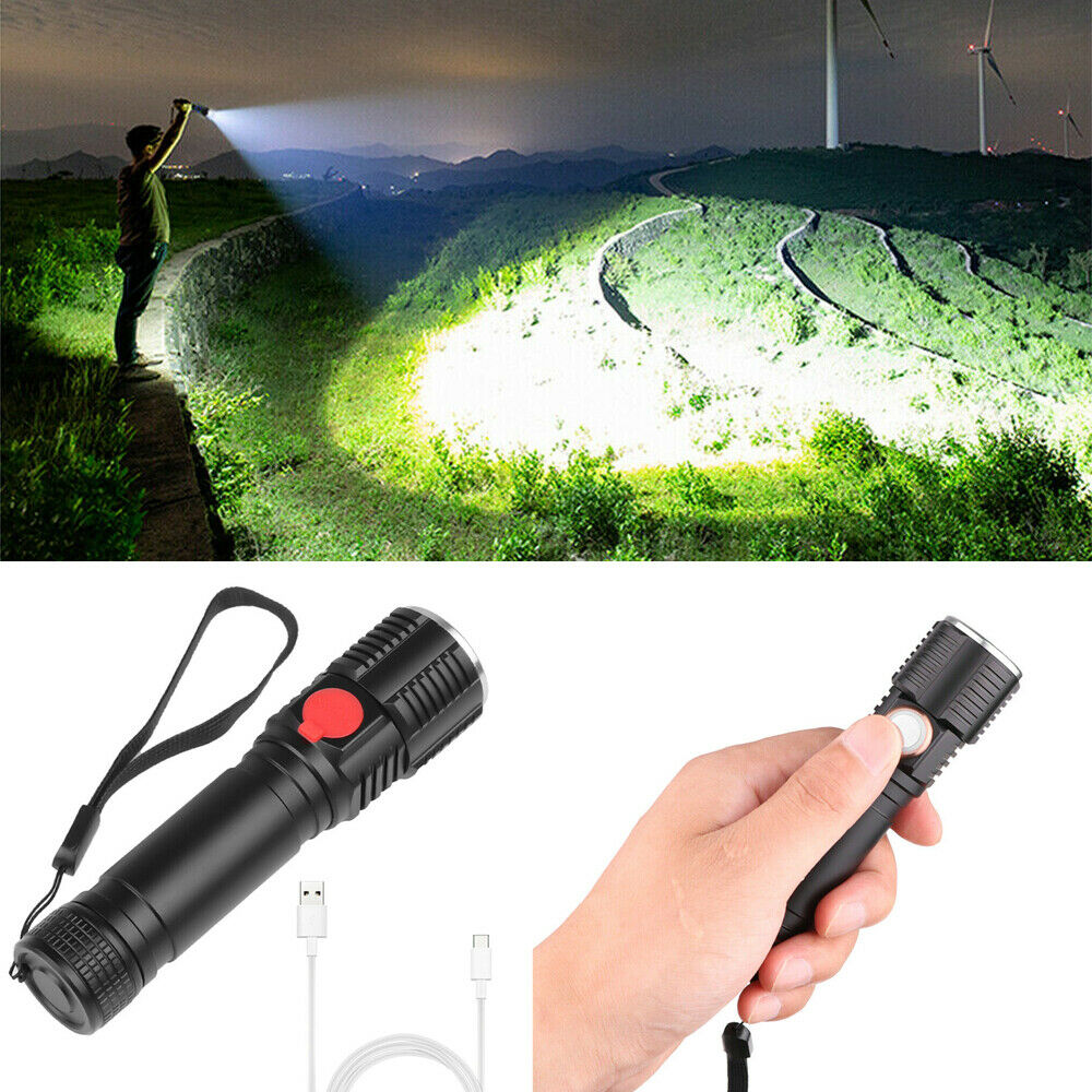 <font><b>60000LM</b></font> T6 <font><b>LED</b></font> USB Rechargeable High Bright 3 Modes Dimming Super Bright Zoom Flashlight Flashlights Powerful Lamp Torches image