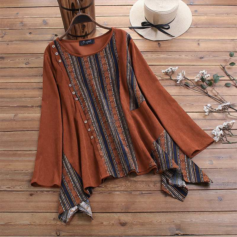 2020 Vintage Corduroy Striped Patchwork Shirts Women Stylish Irregular Hem Blouses Tunic Tops Womens Clothing Blusas Plus Size