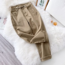 Women's high waist pants fashion casual pleated solid color spring summer cotton