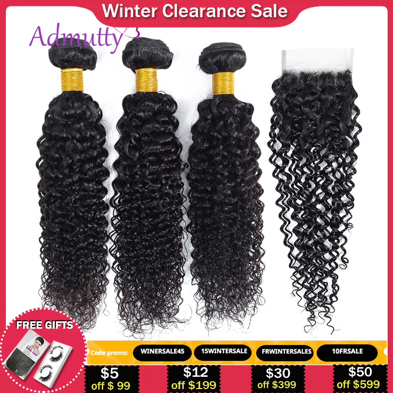 Kinky Curly Human Hair Bundles With Closure Malaysian Kinky Curly Bundles With Closure Non Remy Curly Bundles With Closure