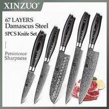 XINZUO 5 PCS 주방 나이프 세트 일본 VG10 다마스커스 스테인레스 스틸 클리버 요리사 유틸리티 나이프 면도기 샤프 Pakka 나무 손잡이