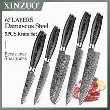 Xinzuo 5 Pcs Keukenmessen Set Japanse VG10 Damascus Rvs Cleaver Chef Mes Razor Sharp Pakka Houten Handvat