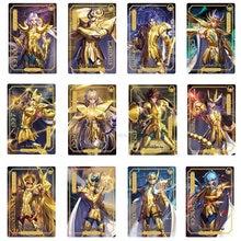 12 pçs/set original saint seiya 30th aniversário limitado brilhante cartão exclusivo ouro saint figura cartão comemorativo carro brinquedos