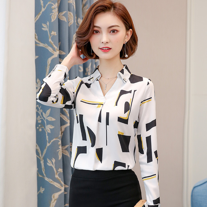 Ymwmhu S-4XL Blouse Women Long Sleeve Slim Fit Shirt Turn-down Collar Autumn and Spring Women Shirt Korean Style Tops Plus Size