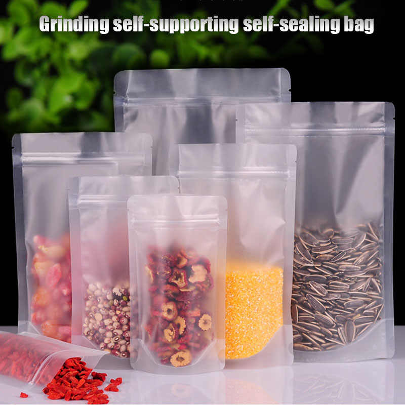 100 Pcs Frosted Zipper Resealable Stand Up Bags Snack Food Tea Packing Pouches Resealable Zip Lock Bag 66CY