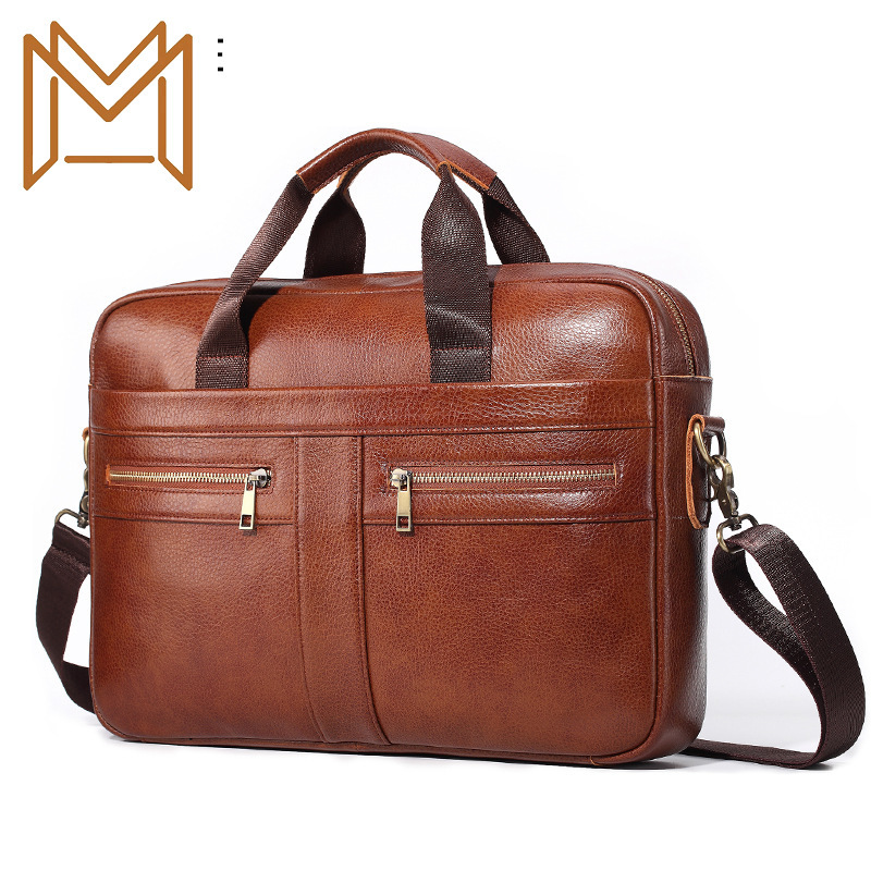 Skin Genuine Leather Man Briefcase Single Shoulder Satchel Head Layer Cowhide