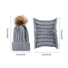 Newborn Baby Children Winter Thicken Braided Knitted Hat Scarf Set Solid Color Cute Fluffy Pompom Ball Cuffed Beanie Cap H05D