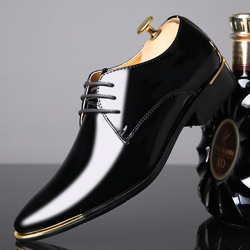 REETENE High Quality Patent Leather Men Shoes Men Wedding Oxford Shoes Lace-Up Office Suit Men'S Casual Shoes Man Dress Shoes