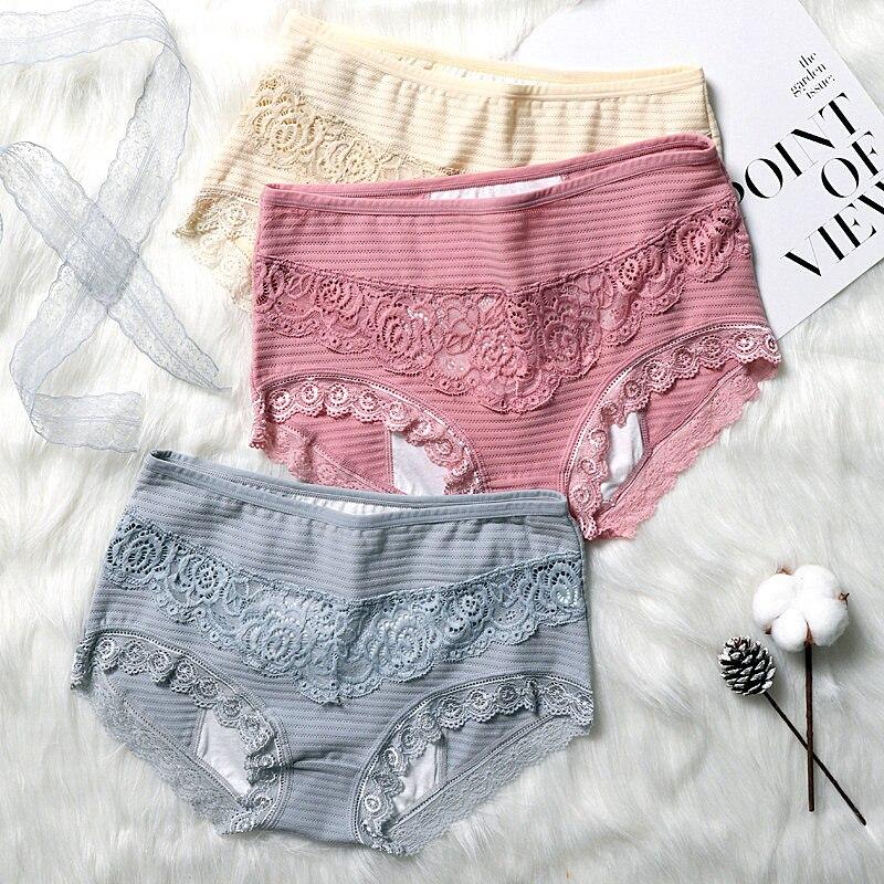 5XL Plus Size Cotton Menstrual Panties Women High Elastic Sexy Lace Period Underpants Hollow Out Floral Underwear Majtki Damskie women