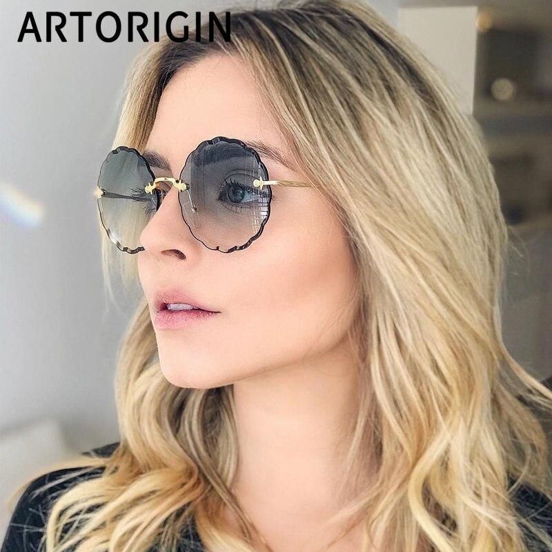 2019 Luxury Round Sunglasses Women Brand Designer Rimless Sun Glasses For Female Tint Fashion Rosie Eyewear
