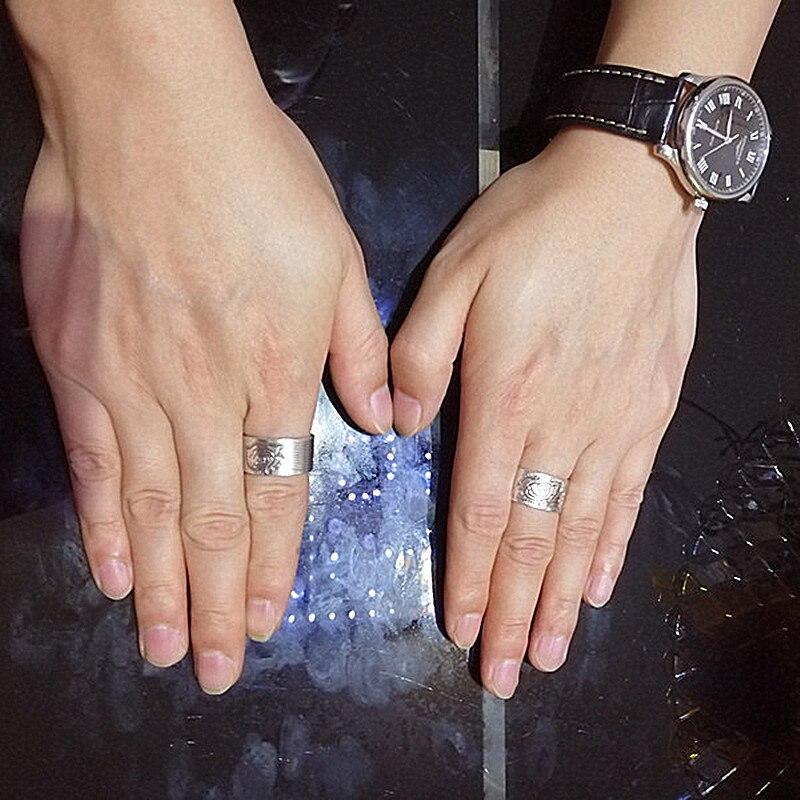 Кольца для пар из стерлингового серебра 999 пробы с изображением пиона, Женское Обручальное Кольцо, мужские свадебные винтажные Роскошные ювелирные изделия, этнические модные кольца 2019 - 5