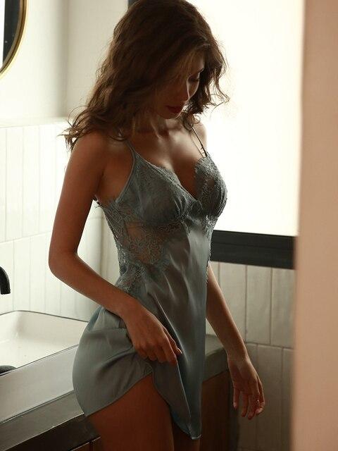 Gợi Cảm Nữ Mùa Hè Nightshirt Đêm Đầm Váy Ngủ Lụa Satin Phối Ren Nữ Váy Ngủ Đồ Ngủ Lingeire Đêm Áo Choàng Mặc Ngủ