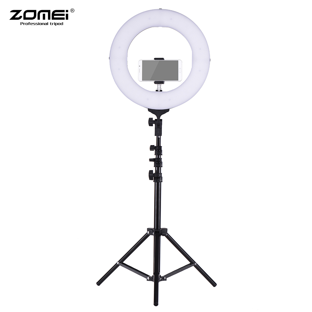 ZOMEI 14 2700 5500K Bi color Dimmable LED Ring Video Light Fill Light CRI 90+ Studio Photography Lighting with Phone Holder