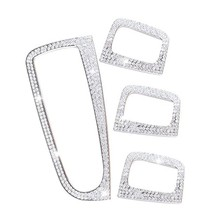 4 Pcs Car Bling Crystal Silver Window Control Switch Button Covers Stickers for Mercedes Benz C Class W205 GLC(China)