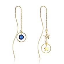 Long irregular word pearl gem earrings Asymmetrical long star pendant fine Golden jewellery christmas