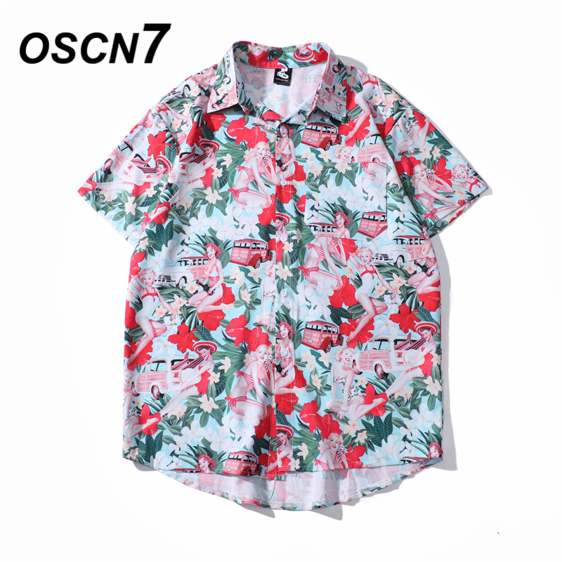 OSCN7 Casual Cloud Printed Short Sleeve Shirt Men Street 2020 Hawaii Beach Oversize Women Fashion Harujuku Shirts For Men 2035