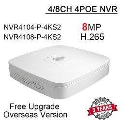 8mp 4ch 8ch 4 poe nvr NVR4104-P-4KS2 NVR4108-P-4KS2 h.265 4/8 canal inteligente 1u 4 k & h.265 lite gravador de vídeo em rede com logotipo