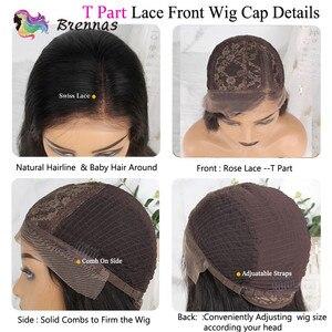 Image 4 - Ombre düz bob peruk 13X1 parçası dantel peruk 1b27 kahverengi renk bebek saç T kısmı kısa bob peruk siyah kadınlar için kadınlar brezilyalı Remy 150% D