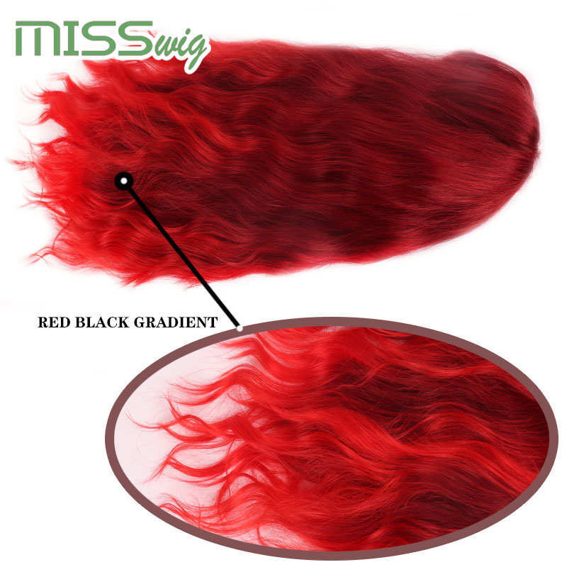 Image 5 - MISS WIG Long Wavy Wigs for Black Women African American Synthetic Hair red Brown Wigs with Bangs Heat Resistant WigSynthetic None-Lace  Wigs   -