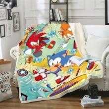 Anime Super Sonic Blanket Design Flannel Fleece Blanket Printed Children Warm Bed Throw Blanket Kids Blanket style-5