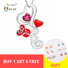 New 100% 925 Sterling Silver Red Heart Blossom Rose Flower Pendants & Necklaces Women DIY fashion Jewelry for Wedding gifts new 925 sterling silver delicate heart shaped ladies pendant trend accessories romantic couple pendants wedding gifts