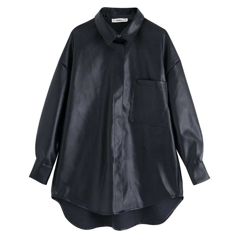Black PU Leather Blouses Women Fashion High Imitation Leather Shirts Women Elegant Pockets Tops Female Ladies JO