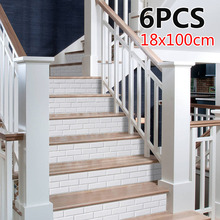 6pcs Removable Stairs Stickers 18*100cm PVC Stair Wallpaper White 3D Waterproof Background Home Decoration firework pattern removable stair stickers
