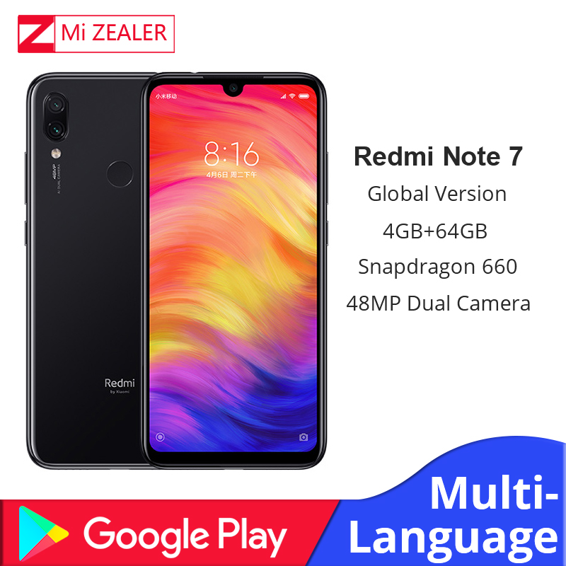 "Global Version Xiaomi Redmi Note 7 4GB 64GB Mobile Phone Snapdragon 660 Octa Core 4000mAh 48MP 5MP Dual Cameras 6.3"" Full Screen"