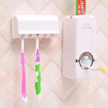 Zestaw akcesoriów łazienkowych uchwyt na szczoteczki do zębów automatyczny dozownik pasty do zębów uchwyt szczoteczki do zębów wieszak montażu na ścianie narzędzia łazienkowe zestaw tanie i dobre opinie JJ20028 Ekologiczne Dwuczęściowe