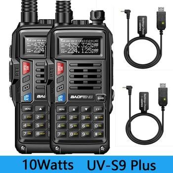 2 pièces BaoFeng UV-S9 Plus 10W double bande Radio bidirectionnelle (136-174MHz VHF et 400-520MHz UHF) prend en charge le talkie-walkie de charge USB