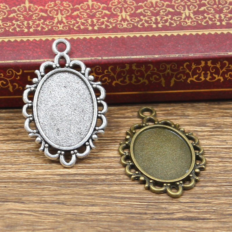 8pcs New Fashion 18x13mm Inner Size Antique Bronze Silver Color Classic Oval Flower Style Cabochon Base Setting Charms Pendant