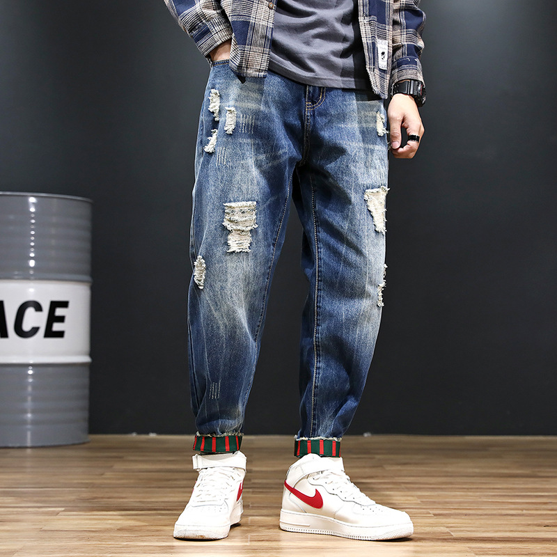 2019 Spring Beam Leg Jeans Men's With Holes Skinny Popular Brand Pants Korean-style Closing Foot Pants Loose And Plus-sized Hare
