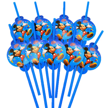 10pcs/bag Mickey Mouse Party Supplies Drinking Straws Kids Birthday Decoration Baby Shower For Boys Favors