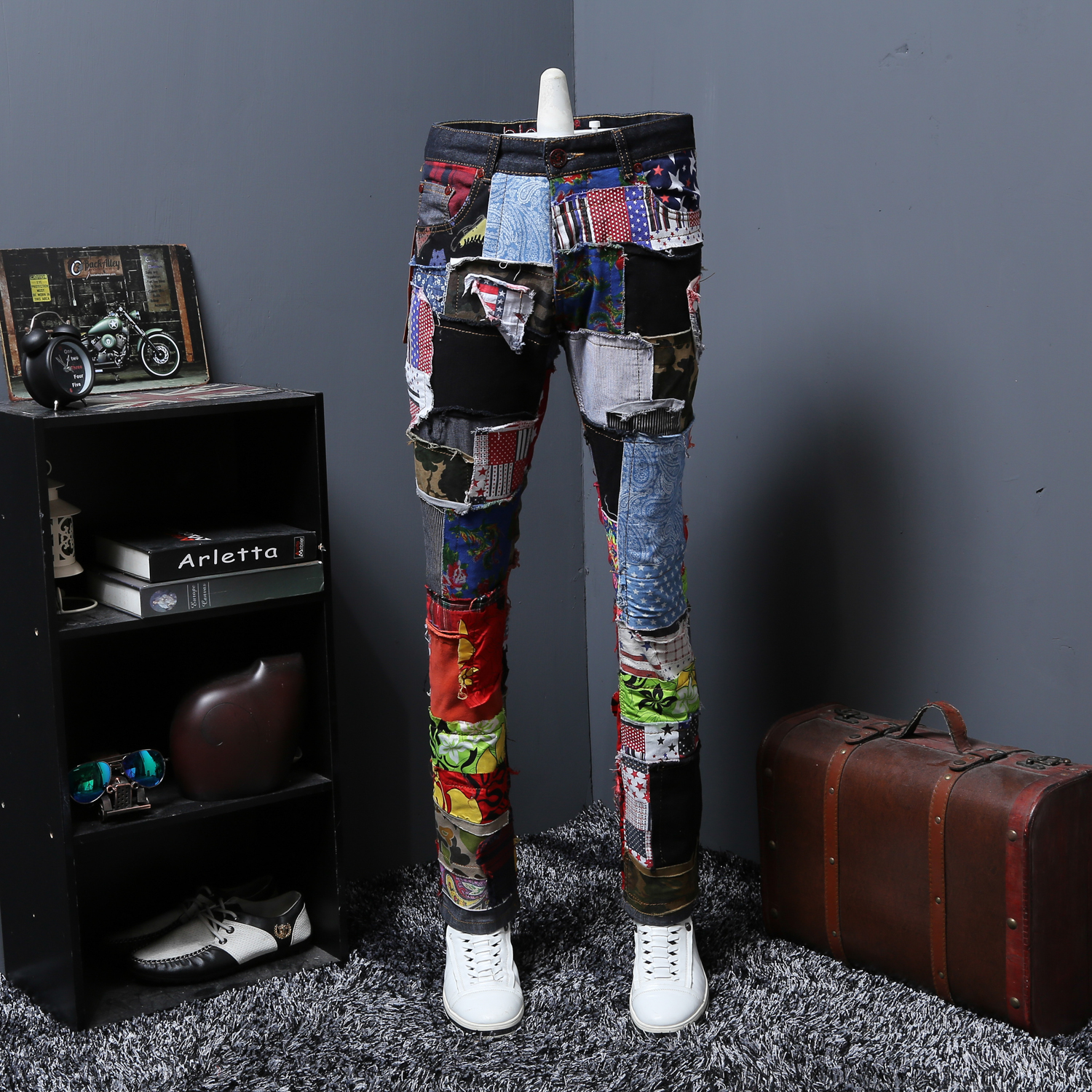 Punk Mens Denim Jeans Trousers Match Colors Straight Patch Slim Fit Skinny Nightclub Holes Printed Chic Pants Punk K005