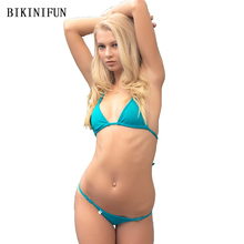 New Sexy String Bikini Women Swimsuit Solid Green Bathing Suit S-L Girl Strappy Bandage Swimwear Backless Halter Mini Set