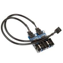 Cabo de extensão usb 2/4 macho 9pin, placa de desktop 9 pinos de extensão fêmea usb hub usb 2.0 9 adaptador de porta multialicate conector de pino