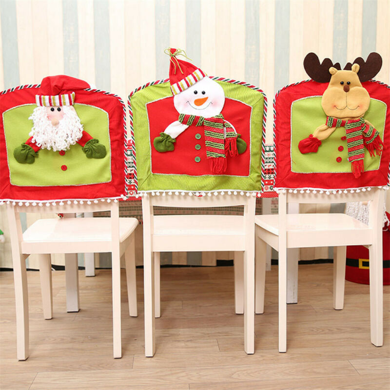 2019 Gift Santa Claus Cap Chair Cover Christmas Dinner Table Party Xmas Christmas Decor