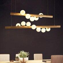 Деревянный белый стеклянный шар, светодиодные подвесные светильники для столовой, подвесной светильник G4, лампа для кофейни, бара, подвесной светильник для дома, скандинавский светильник