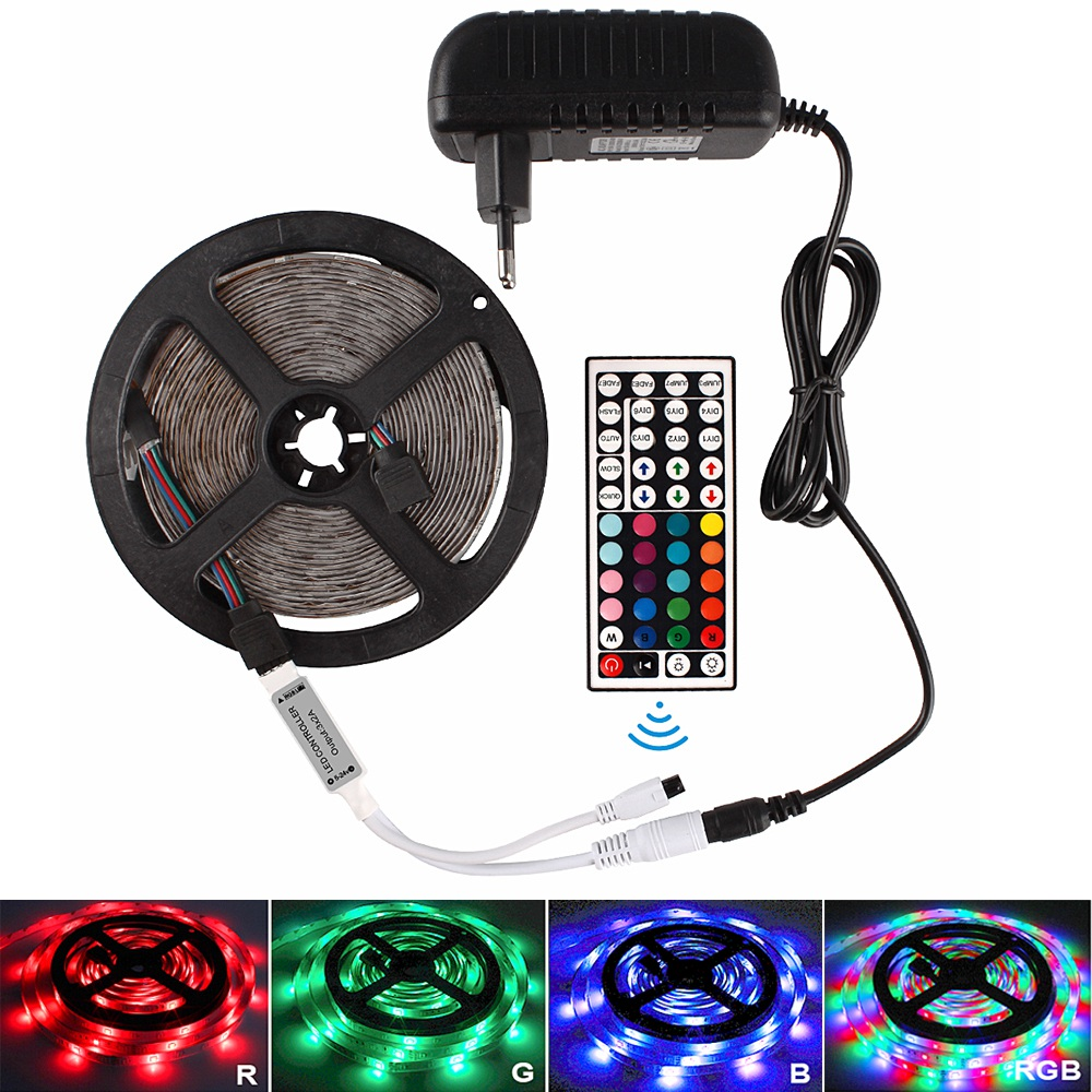 5M 10M 15M RGB Led Light Strip 2835 DC 12V Waterproof Flexible Diode Tape Ribbon Tiras Fita LED Music Remote Control + Adapter