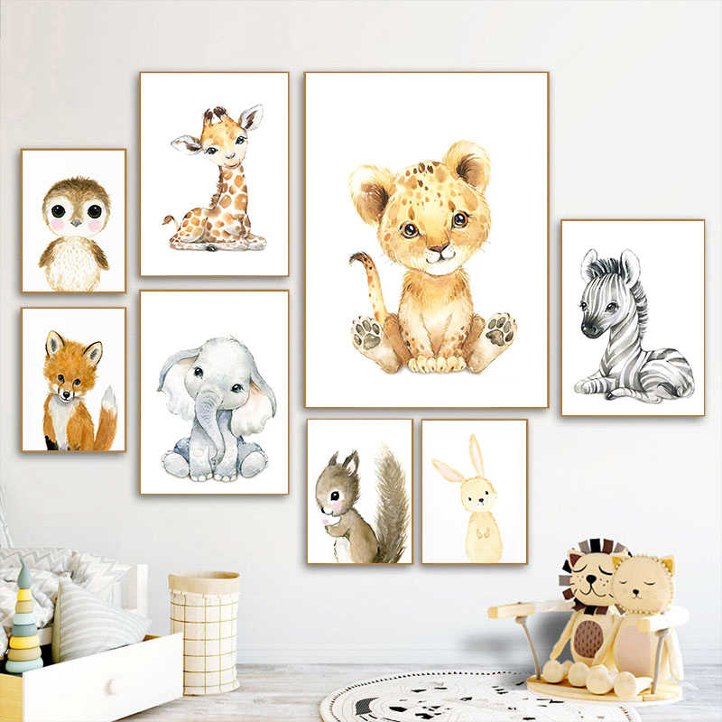 Details about  /Nordic Kids Poster Cartoon Animal Lion Canvas Wall Art Print Child Bedroom Decor