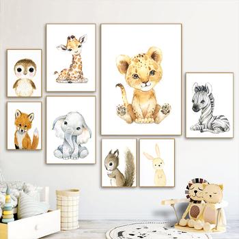 Nordic Cartoon nadruk zwierzęta płótno malarstwo śliczne Zebra żyrafa lew słoń plakat dzieci pokój dekoracje ścienne obrazek do pokoju dziecęcego tanie i dobre opinie CN (pochodzenie) Płótno wydruki Oddzielne Na płótnie Wodoodporny tusz Zwierząt Unframed Nowoczesne 1027 Malowanie natryskowe