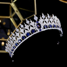 Headdress Crown Tiaras Hair-Ornament Wedding-Accessories Blue European And Unique-Style