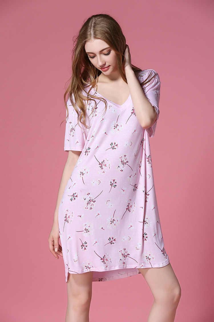 Frete grátis. verão modal camisola feminina fina casa sexy roupas, femme vendas macias mais eur tamanho vestidos de qualidade 50-100kgs