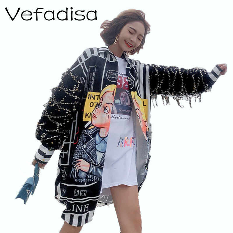 Vefadisa Tassel Sequin Sleeves blusa mujer Cartoon Print blusa larga Irregular blusa Single Breasted Harajuku tapas caliente ZLD653