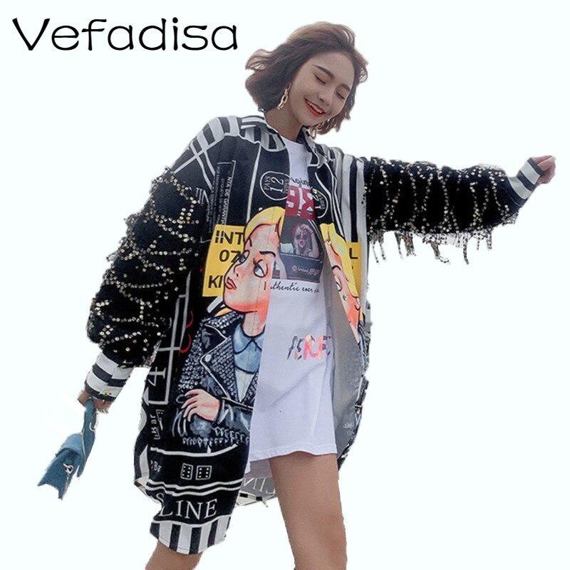 Vefadisa Tassel Sequin Sleeves Blouse Women Cartoon Print Blouse Long Irregular Blouse Single Breasted Harajuku Tops Hot ZLD653