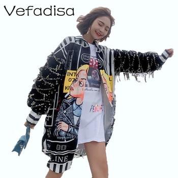 Vefadisa Tassel Sequin Sleeves Blouse Women Cartoon Print Blouse Long Irregular Blouse Single Breasted Harajuku Tops Hot ZLD653 tassel hem blouse