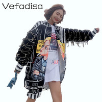 Vefadisa Tassel Sequin Sleeves Blouse Women Cartoon Print Blouse Long Irregular Blouse Single Breasted Harajuku Tops ZLD653