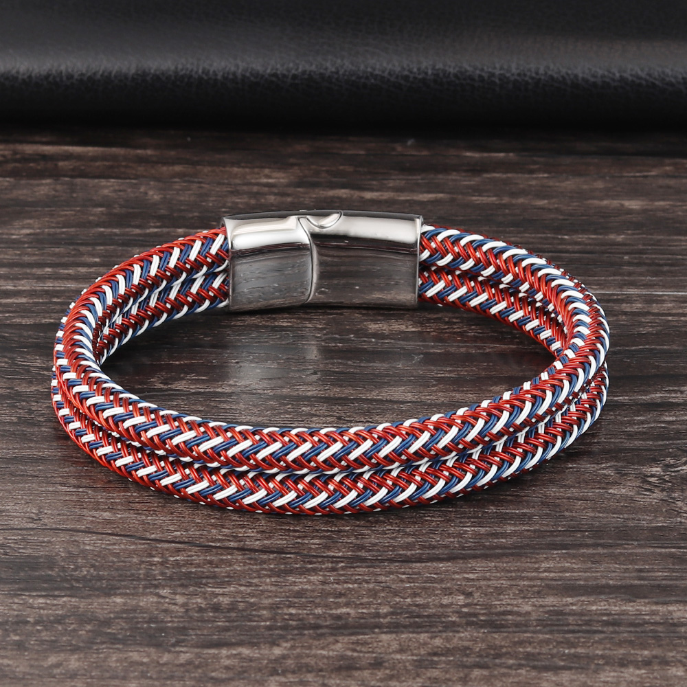 Classic Style Leather With Stainless Steel Stitching Combination Men's Bracelet Black/Steel Buckle Party Accessories Gift