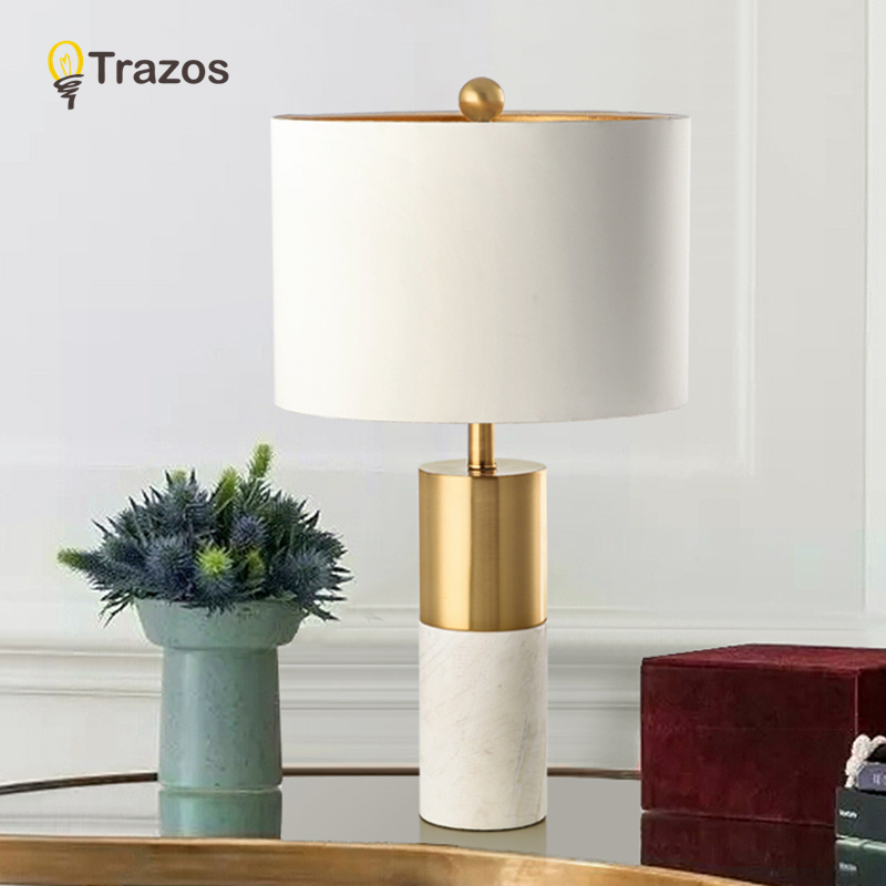 European Retro Vintage Table Lamps E27 Marble Table Lights Bedside Lamps For Bedroom Living Room Hotel Room Desk Lights
