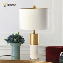 European Retro Vintage Table Lamps E27 Marble Lights Bedside For Bedroom Living Room Hotel Desk